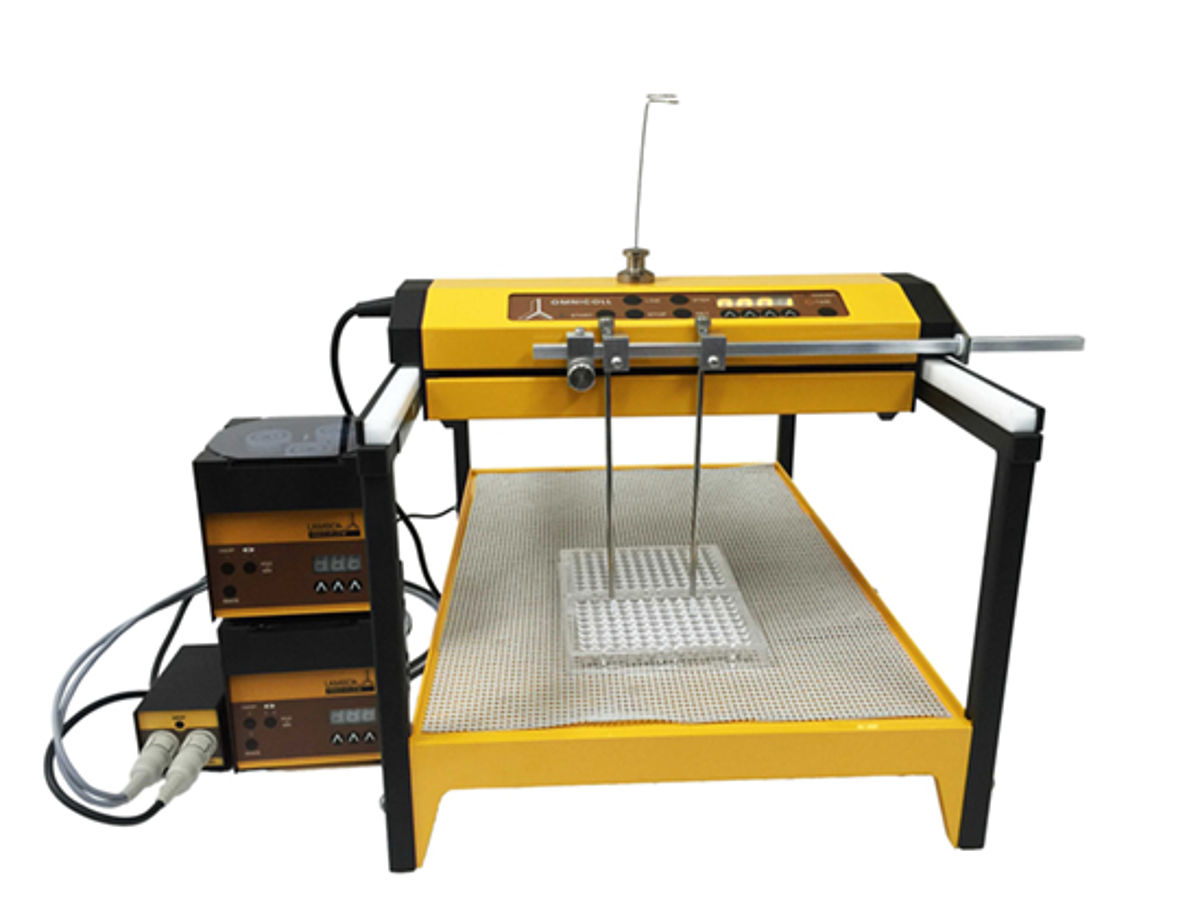 Customized 2-stream OMNICOLL fraction collector with LAMBDA peristaltic pumps for 96-well plates