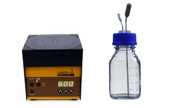 Acid or base peristaltic pump line for automatic pH control (pH-stat)