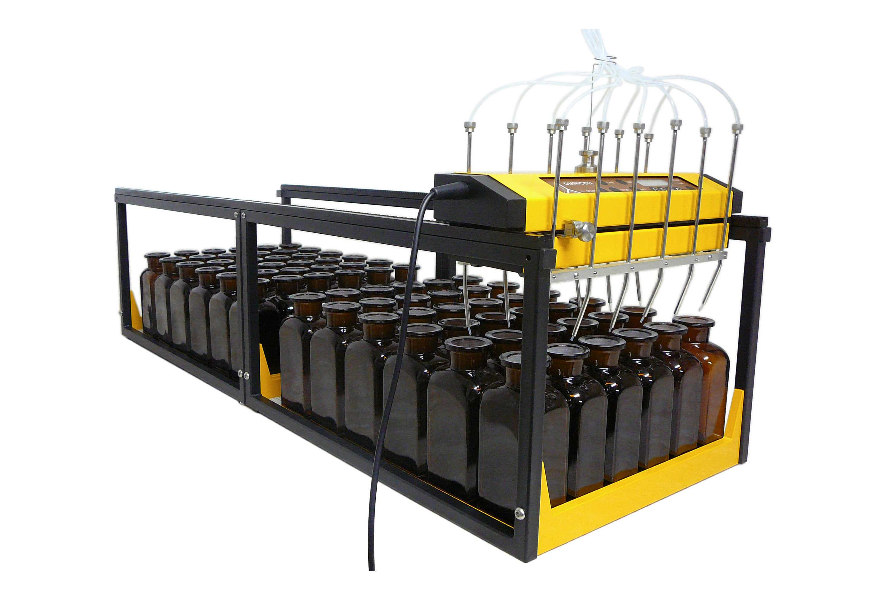 OMNICOLL 12-channel collector with 2 additional supports to collect 72 fractions in 250 ml bottles